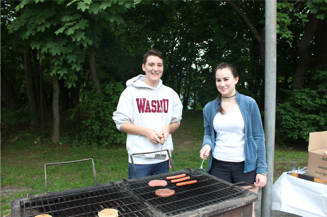 Blake Siegel and Hannah Lewis barbecuing